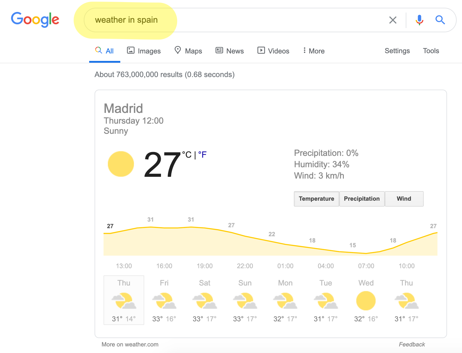 """Google direct answer to """"weather in spain"""""""