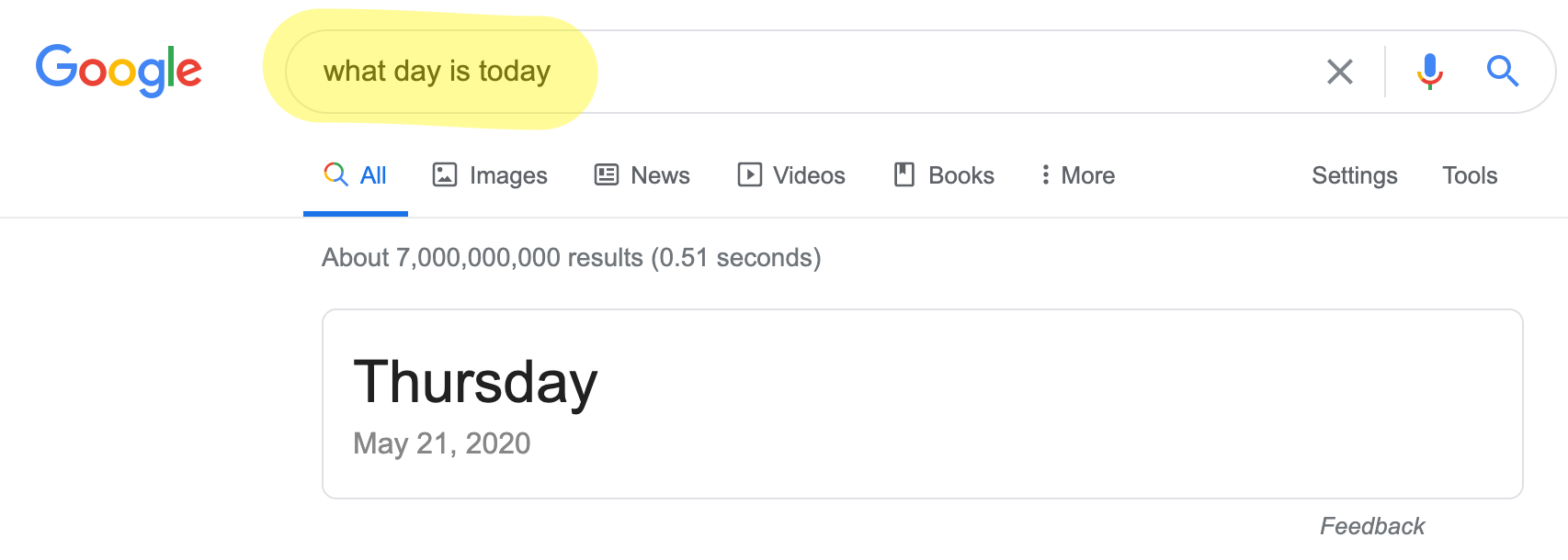 """Google direct answer to """"what day is today"""""""