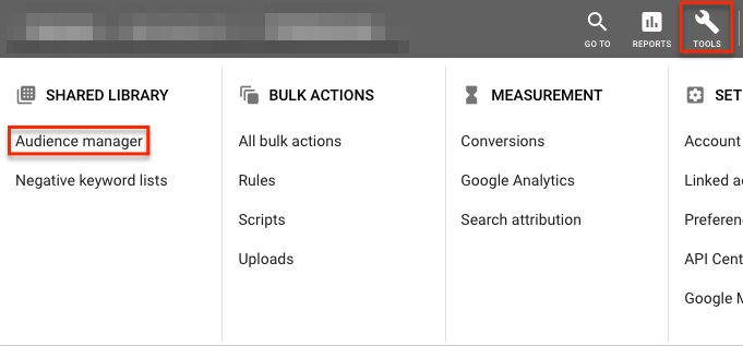 Audience manager in Google Ads