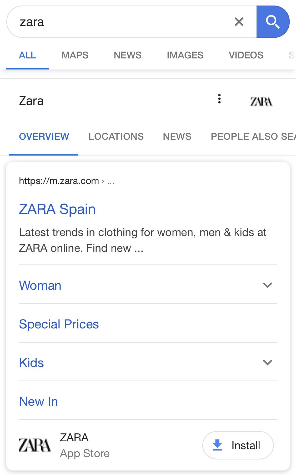 App install Google SERPs