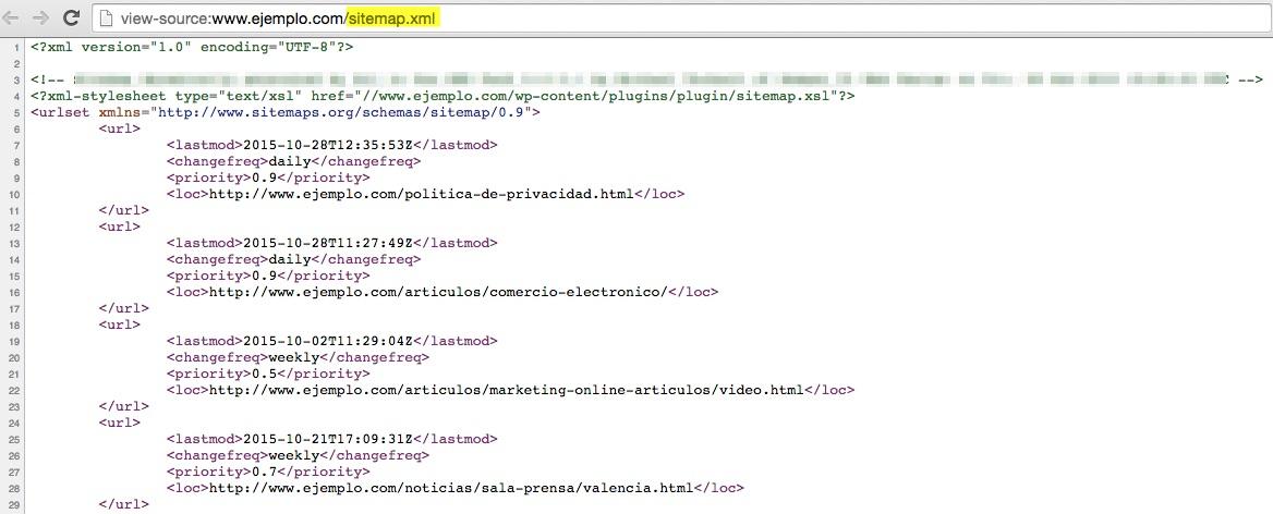 Código fuente de archivo Sitemap