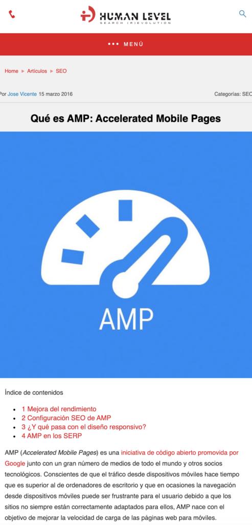 Captura de pantalla de un artículo en AMP