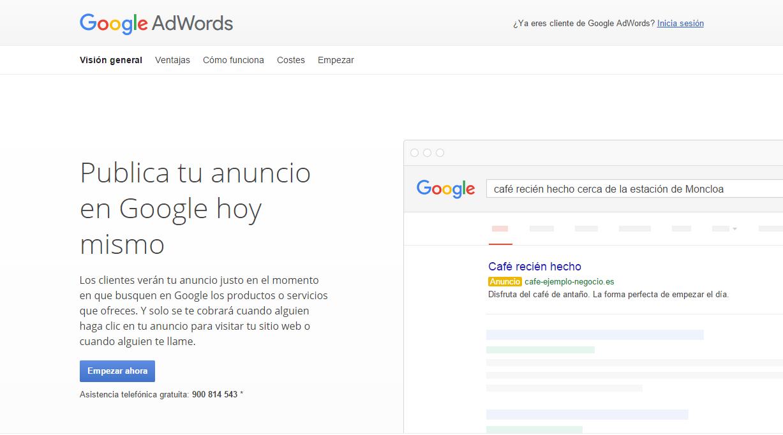 Página principal de Google AdWords