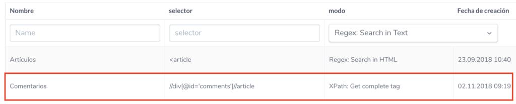 Configuración en ryte del recuento del número de comentarios