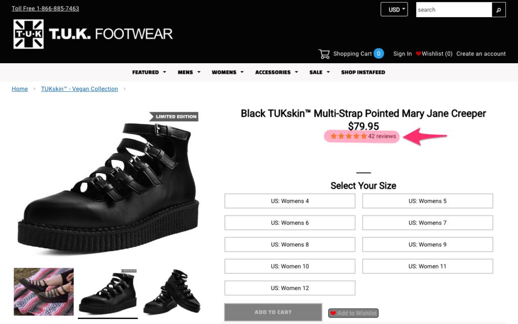 Tienda online TUK shoes y su módulo de reseñas