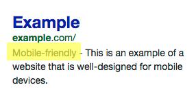 etiqueta mobile friendly en los resultados de búsqueda